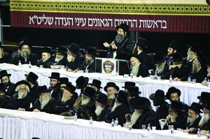 Partial view of the dais at the asifah in Monsey. The Vizhnitzer Rebbe is sitting in the center of the first row.