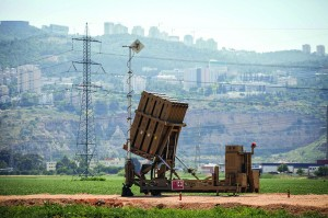 View of an Iron Dome antimissile battery deployed near Haifa on Sunday. Another was set up in Tzfas. (Flash90)
