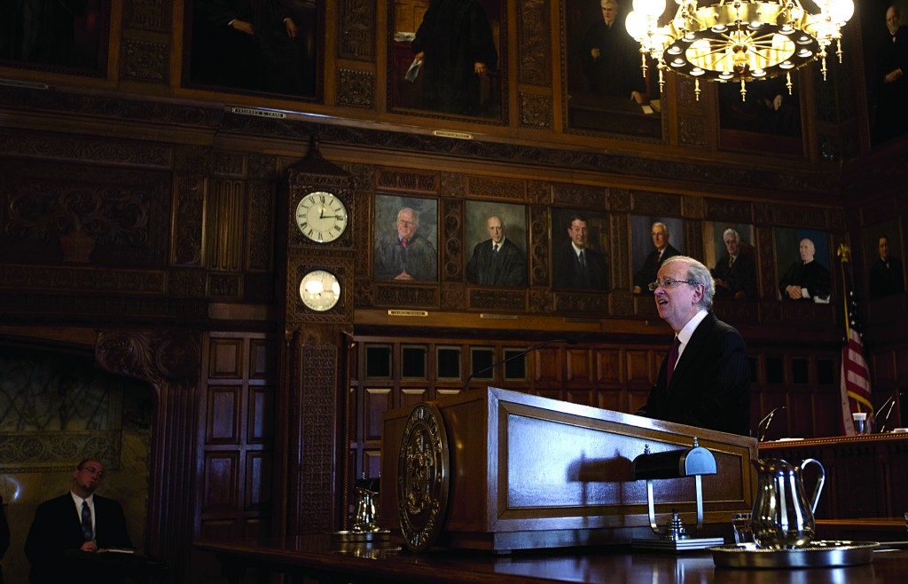 Chief Judge Jonathan Lippman on Wednesday delivers his Law Day speech at the Court of Appeals in Albany. (AP Photo/Mike Groll))