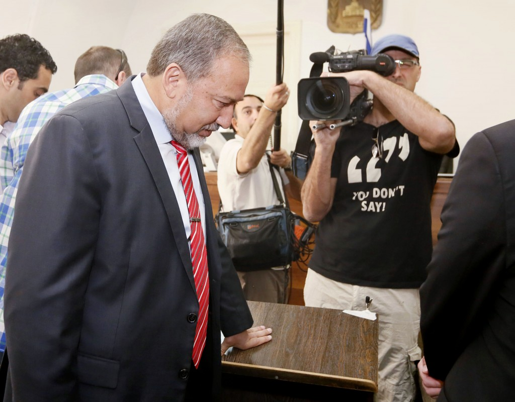 Former Foreign Minister Avigdor Lieberman in the courtroom on Wednesday. (Miriam Alsterl/Flash90)
