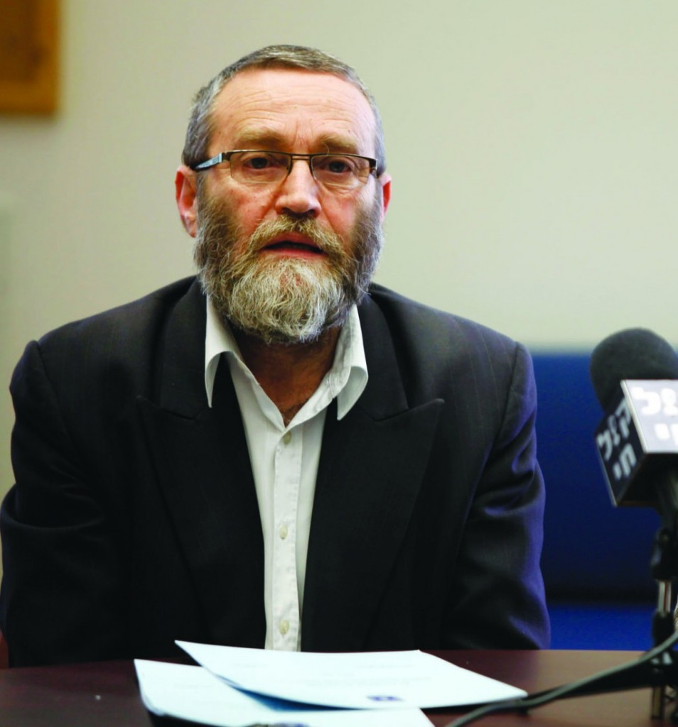 United Torah Judaism MK Rabbi Moshe Gafni at a press conference on Wednesday. (Photo by Flash 90)