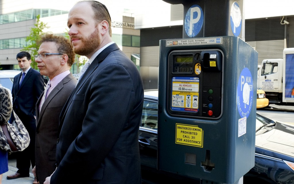 Councilmen David Greenfield and James Vacca discuss legislation to reform the city's Muni-Meter system at a press conference Wednesday morning in Manhattan.