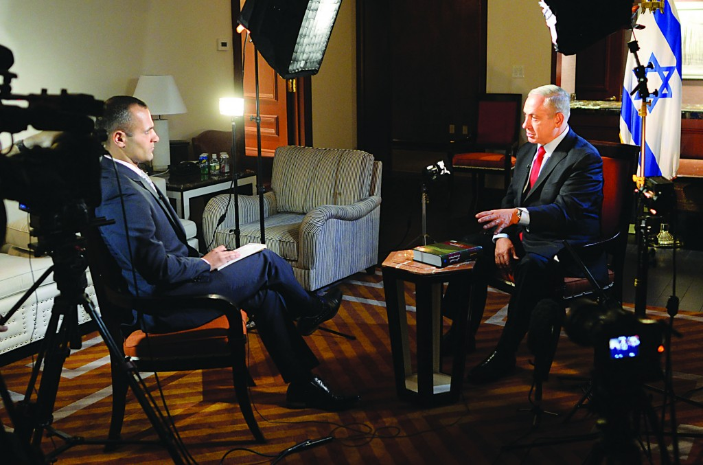 Israeli Prime Minister Binyamin Netanyahu seen during an interview by foreign press journalist Kambiz Fattahi for the BBC Persian channel in New York City on Thursday.  (Kobi Gideon / GPO/FLASH90)