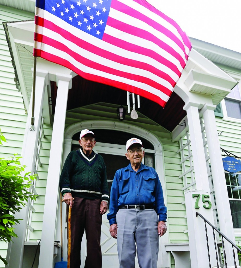 World War II veterans Bob Addison (L) and Jerry West in Glens Falls, N.Y., Wednesday.(AP Photo/Mike Groll)
