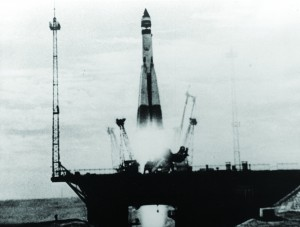 The start of the Space Race — the launching of a Soviet man-made earth satellite, Sputnik 1, on October 3, 1957 — is shown in this photo from the Russian documentary, released by the Russian news photo agency, Novosti. (AP Photo/Novosti)