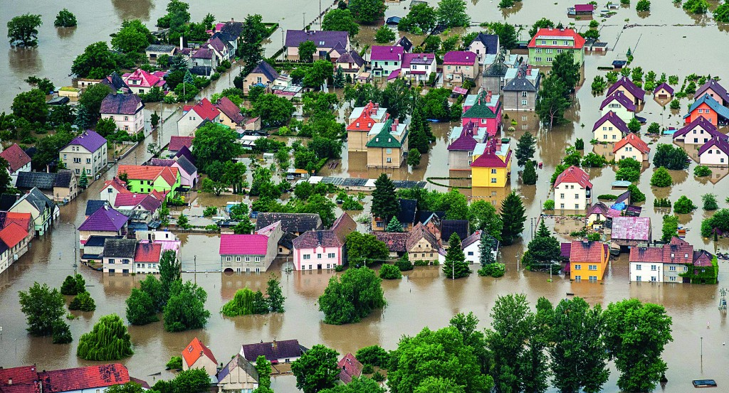 An aerial view of the village Kresice flooded by the swollen river Elber, 63 kilometers (39 miles) northwest of Prague on Tuesday. (AP Photo/CTK, Radek Petrasek)