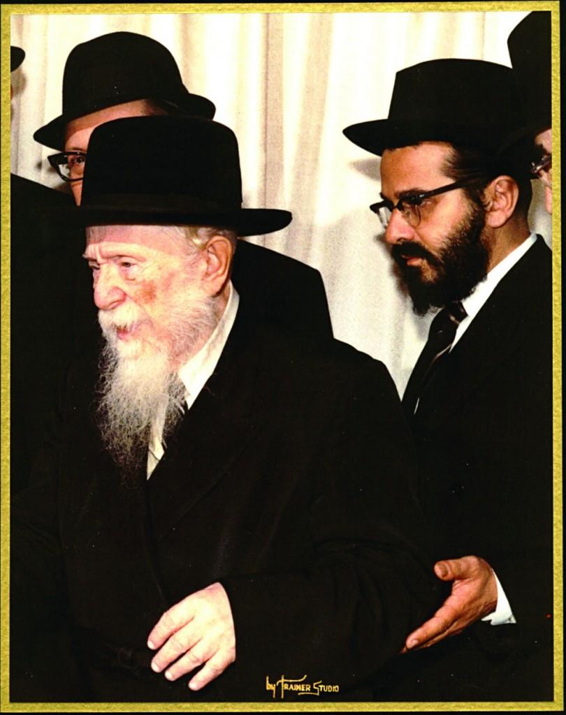 "Harav Avraham Yehoshua Heschel of Kopycznitz with his son and successor, Harav Moshe Mordechai, zt""l. (Trainer Studio)"