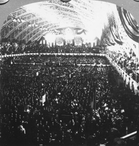 High-angle view of crowds on the floor of the Republican National Convention during the opening address, Chicago, Illinois, June 16, 1908. Convention delegates nominated William Howard Taft for president. (Keystone/Getty Images)