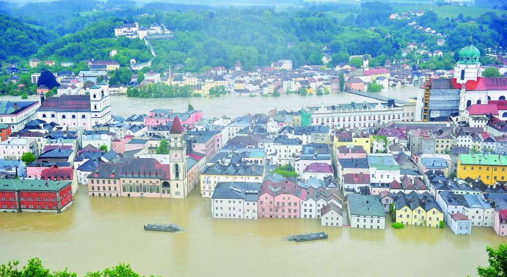 A general view of the flooded historic city center on Monday in Passau, Germany. (Lennart Preiss/Getty Images)