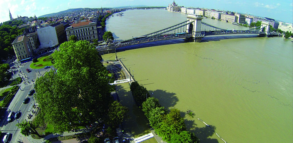 An aerial view of the flooded River Danube with the Chain Bridge in the foreground and the Parliament building in the background (center, R), in Budapest, Hungary, Sunday. (AP Photo/MTI, Imre Kmetz)