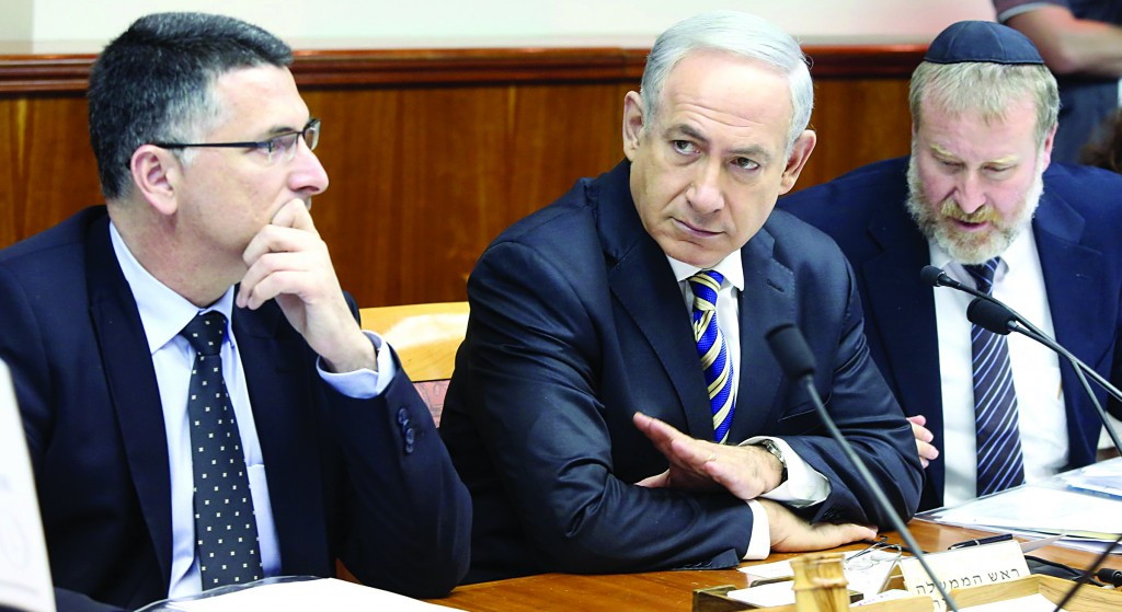 Israel's Prime Minister Binyamin Netanyahu presiding at the weekly Cabinet meeting on Sunday where his proposal for exporting 40 percent of the country's natural gas reserves was approved 18-3. (Marc Israel Sellem/POOL/FLASH90)