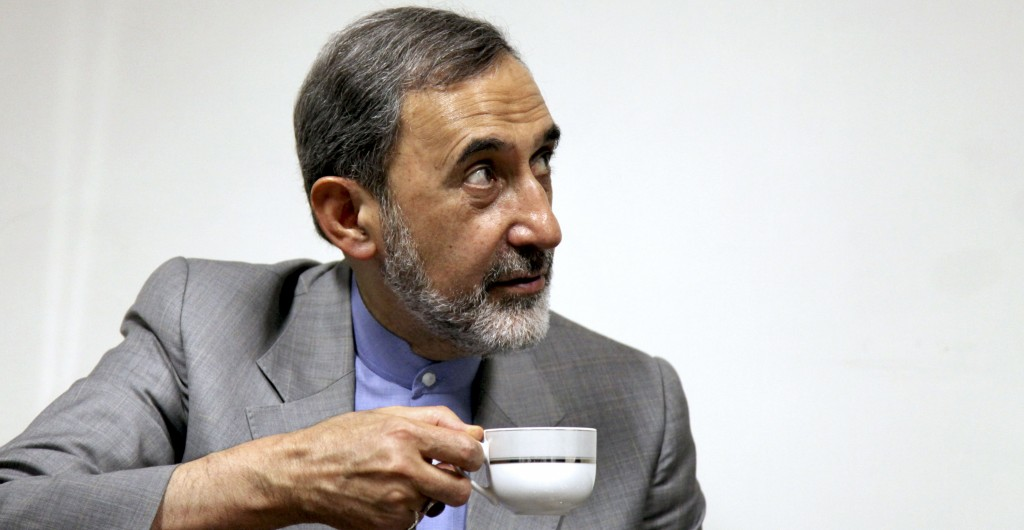Iranian presidential candidate Ali Akbar Velayati, a former foreign minister, looks on as he drinks tea at the conclusion of a press conference in Tehran, Iran on Monday. (AP Photo/Ebrahim Noroozi)