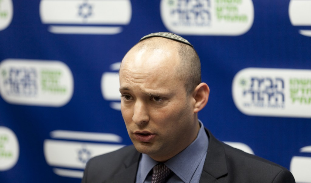 Jewish Home Party leader Naftali Bennett speaking at a party meeting in the Knesset on Monday. (Flash90)