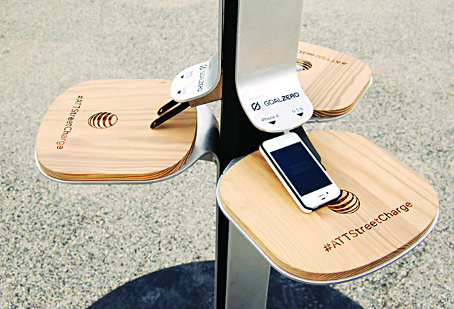 A solar charging station on a New York City street.