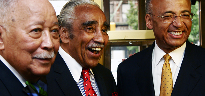 Former Mayor David Dinkins, Rep. Charlie Rangel and Bill Thompson at the Harlem Press conference Monday. (Bill Thompson for Mayor)
