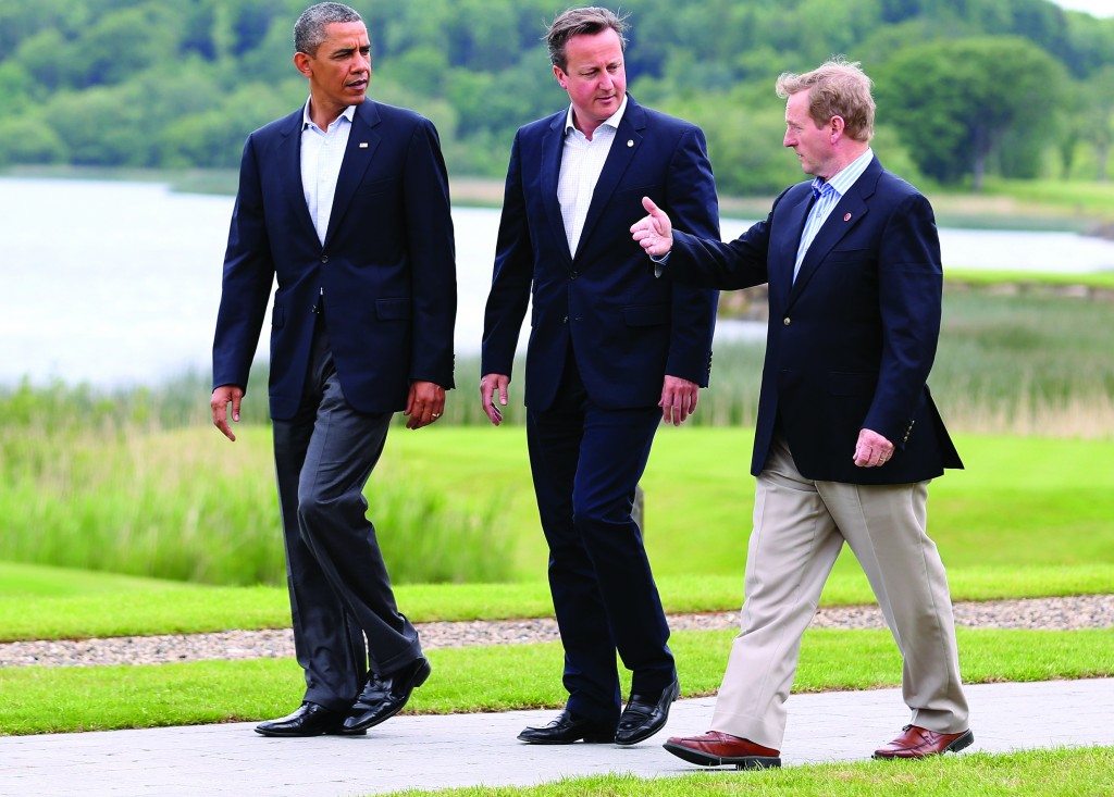 L-R: President Barack Obama and Britain's Prime Minister David Cameron walk with Ireland's Taoiseach Enda Kenny at the G8 venue of Lough Erne on Tuesday in Enniskillen, Northern Ireland. The two-day G8 summit, hosted by Prime Minister Cameron, was held in Northern Ireland for the first time. Leaders from the G8 nations gathered to discuss numerous topics. (Matt Cardy/Getty Images)