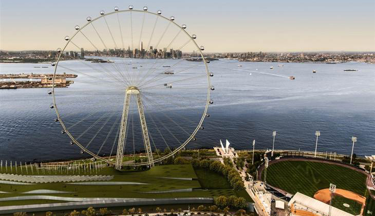 An artist's rendering of a proposed 625-foot Ferris wheel planned along the Staten Island waterfront. (AP Photo/Office of the Mayor of New York)