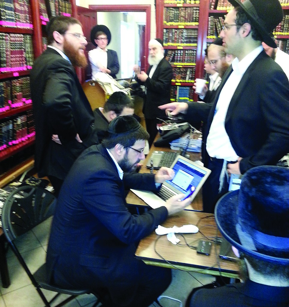 """In a """"filter drive,"""" that took place in the Spinka beis medrash on 18th Avenue in Boro Park, six technicians spent hours on Sunday installing filters on laptop computers, smartphones, and other mobile devices."""