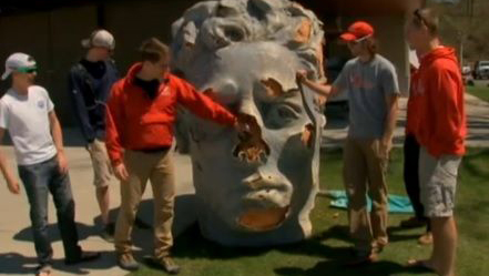 The giant head found floating in the Hudson River.
