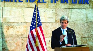 Secretary of State John Kerry speaks during a news conference at Ben Gurion International Airport on Sunday, after shuttle diplomacy ended without an agreement on resuming Israeli-Palestinian peace talks. (REUTERS/Jacquelyn Martin/Pool)