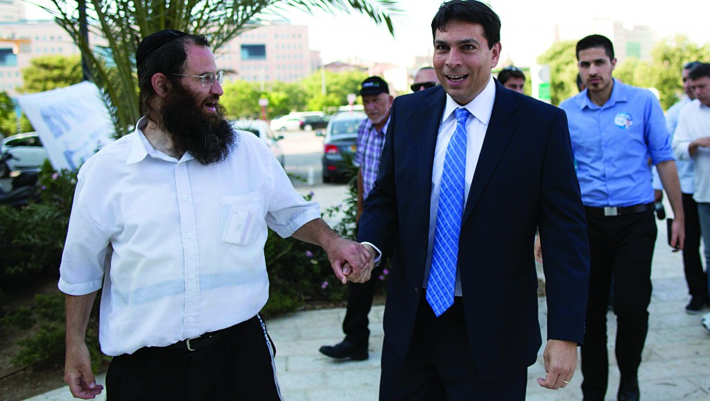 Israeli Deputy Defense Minister Danny Danon arrives to vote during the Likud party elections on Sunday. (Yonatan Sindel/Flash90)