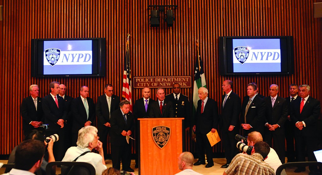 Mayor Michael Bloomberg speaks, with Police Commissioner Raymond Kelly, district attorneys and police union leaders Monday, in advance of the City Council bills that passed early Thursday. (Office of the New York City Mayor)