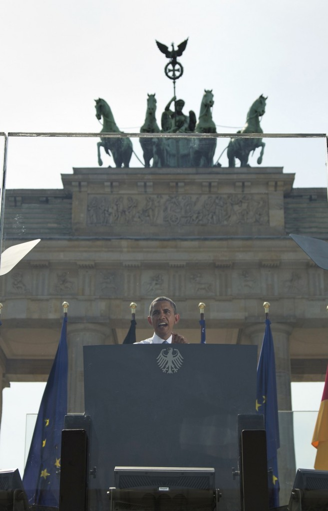 President Barack Obama gives a speech in front of the Brandenburg Gate in Berlin, Wednesday. (AP Photo/Evan Vucci)
