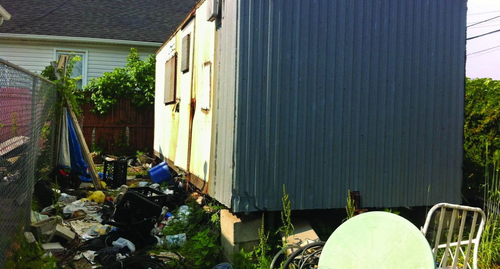 A trailer where Keith Lancaster's remains were found in Queens. (AP Photo/Jake Pearson)