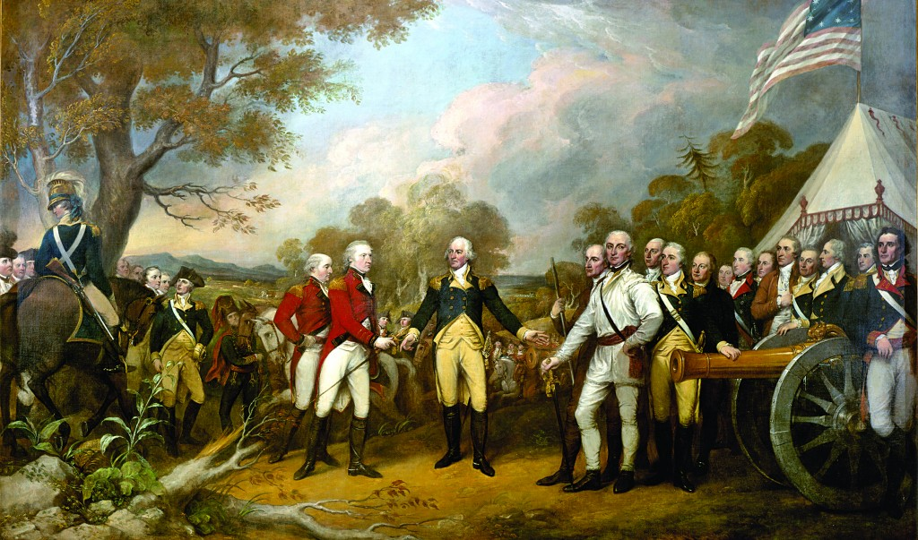 John Trumbull's 1821 painting of the surrender of British Gen. John Burgoyne at Saratoga on Oct. 17, 1777. American Gen. Horatio Gates refused to take the sword offered by Burgoyne, inviting him instead into his tent. (United States Architect of the Capitol)