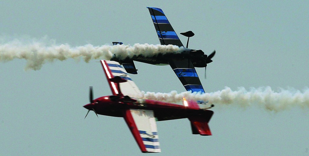 The Firebird Xtreme aerobatic team performs at the 2013 Atlantic City Airshow in Atlantic City, N.J., Wednesday. (AP Photo/The Press of Atlantic City, Dale Gerhard)