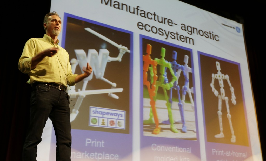 In this photo taken Wednesday, May 15, 2013, Wayne Losey, co-founder of Dynamo DevLabs, speaks about 3D printing during the Hardware Innovation Workshop in San Mateo, Calif. (AP Photo/Eric Risberg)