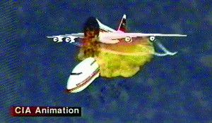 A CIA animation of the disintegration of TWA Flight 800 off the coast of Long Island on July 17, 1996. (AP Photo/Central Intelligence Agency)