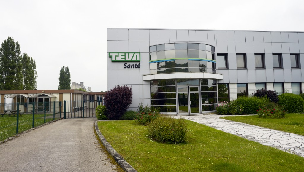 The processing factory of Israel's Pharmaceutical Industries Teva Sante in Sens, south of Paris. Shipments have been suspended pending an investigation into an alleged packaging mistake involving two lots of Teva's generic diuretic Furosemide after patient deaths were reported. (FRED DUFOUR/AFP/Getty Images)