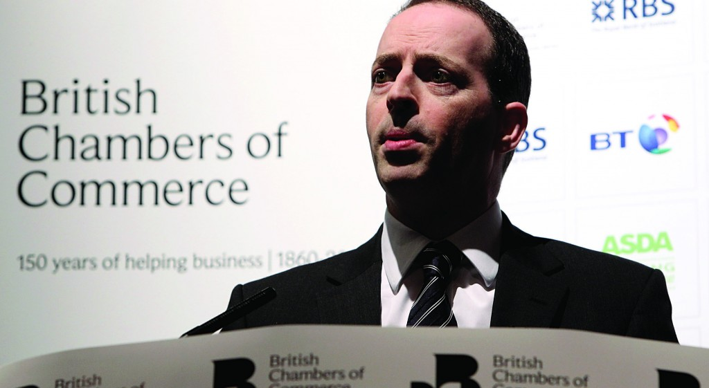Ian Livingston, the next British trade minister, speaking at a recent Chamber of Commerce Annual Conference in London. (Oli Scarff/Getty Images)