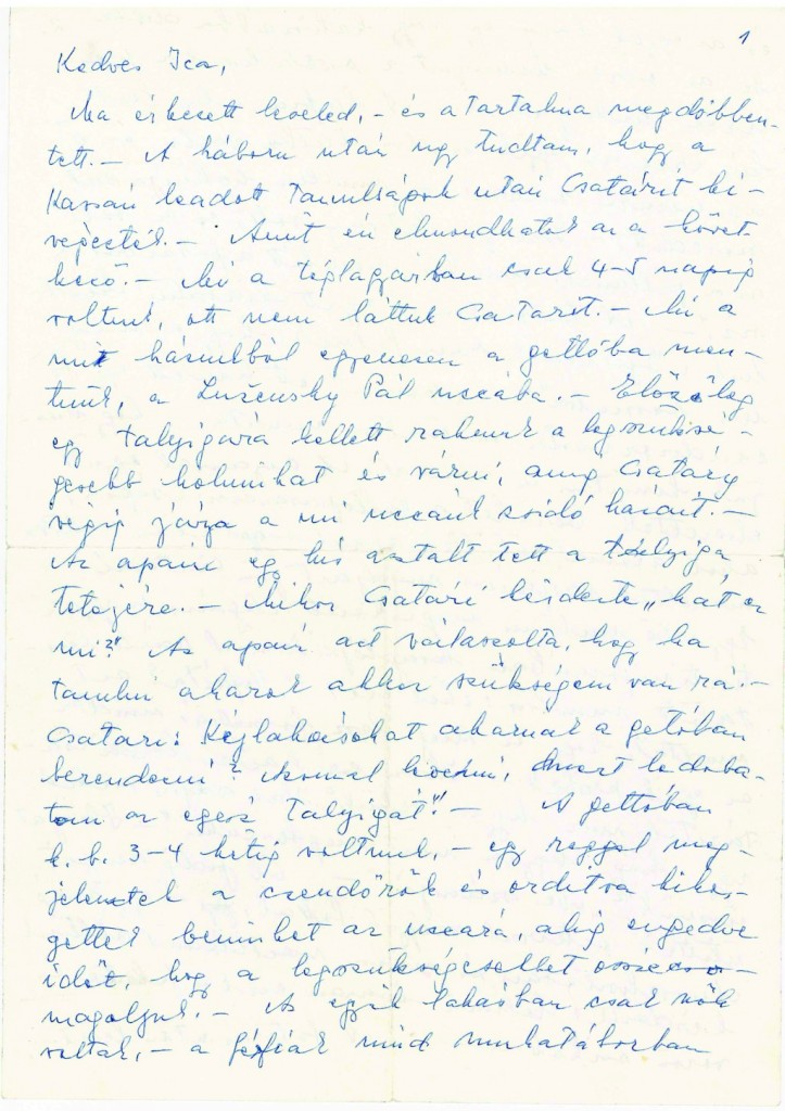 A page from Mrs. Erlich's letter, which has been translated from the Hungarian, specifically links Csatáry to war crimes and which will be forwarded to European authorities.
