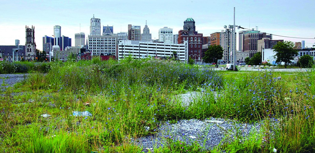 A view of downtown Detroit from a vacant lot, looking south along Woodward Avenue, on Sunday. (REUTERS/Rebecca Cook)
