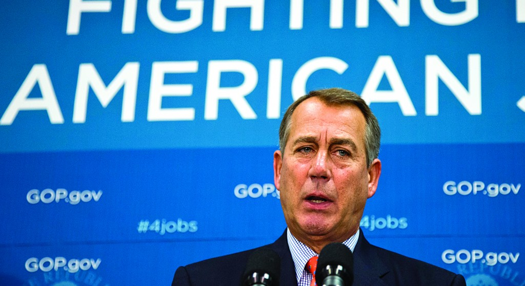 Speaker of the House John Boehner, R-Ohio, and GOP leaders meet with reporters following a Republican strategy session at the Capitol in Washington, Tuesday. (AP Photo/J. Scott Applewhite)