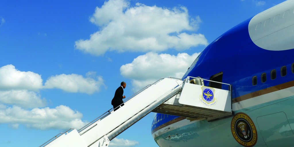 President Barack Obama boards Air Force One at Quad Cities International Airport in Moline, Ill.,Wednesday, en route to Warrensburg, Mo. The president traveled to the Midwest to kick off a series of speeches about rebuilding the economy. (AP Photo/Susan Walsh)