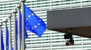 A security camera is seen at the main entrance of the European Union Commission headquarters in Brussels. (REUTERS/Francois Lenoir)