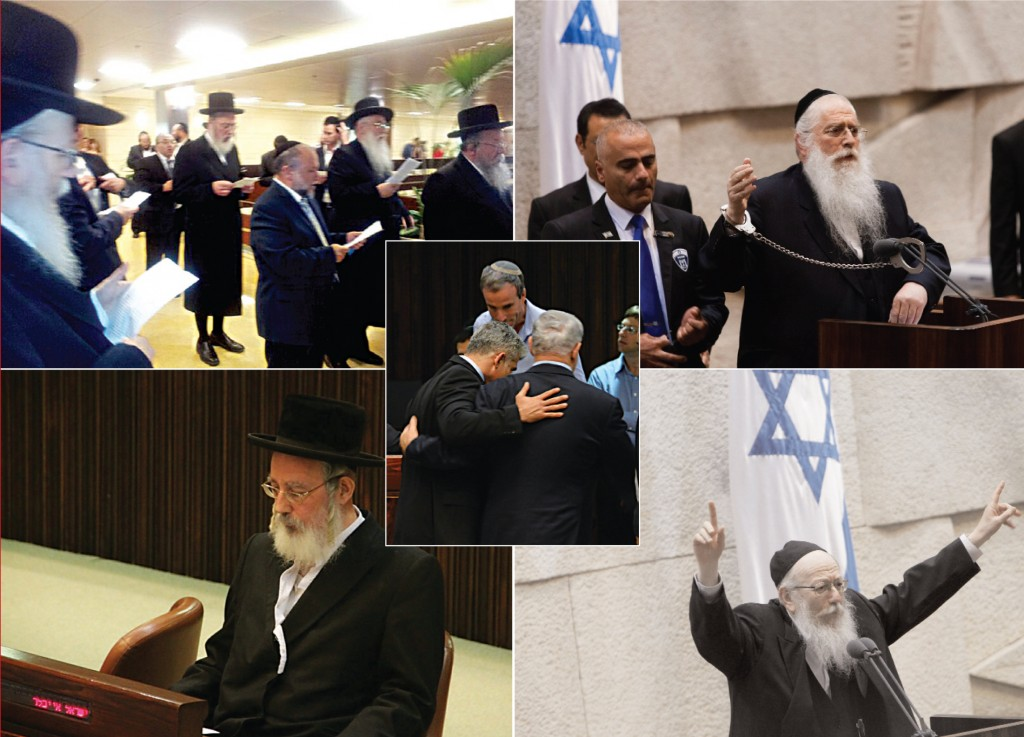 Clockwise from top left: Shas and UTJ MKs recite a special tefillah with selichos and tekias shofar; MK Meir Porush handcuffs himself;  MK Rabbi Yaakov Litzman gives a passionate address before the Knesset; MK Yisrael Eichler after tearing kriah; (Center) MK Yair Lapid and PM Benyamin Netanyahu. (Eli Segal/fLASH 90)