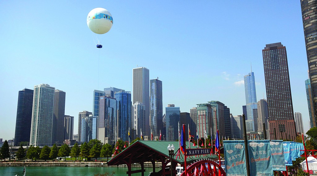 Passengers get an aerial view of the city from the AeroBalloon at Navy Pier in Chicago, Illinois. (Scott Olson/Getty Images)