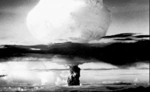 The world's first atomic explosion is shown on July 16, 1945, on what is now known as the White Sands Missile Range about 50 miles northwest of Alamogordo, N.M. (AP Photo/File)