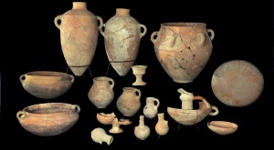 Pottery reconstructed from shards retrieved from the excavation site of the palace in Khirbet Qeiyafa, near Beit Shemesh. (Clara Amit / Israel Antiquities Authority / Flash90)