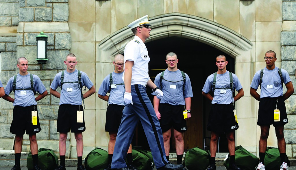 New cadets on a marching drill on Reception Day at the U.S. Military Academy at West Point Monday, where about 1,200 members of the Class of 2017 began basic training. (AP Photo/Mike Groll)
