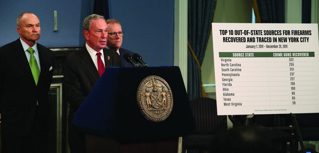 Mayor Michael Bloomberg releases new data showing increase in percentage of out-of-state guns used to commit crimes in New York City, with Police Commissioner Raymond Kelly (L) and Criminal Justice Coordinator John Feinblatt. (Office of New York Mayor)