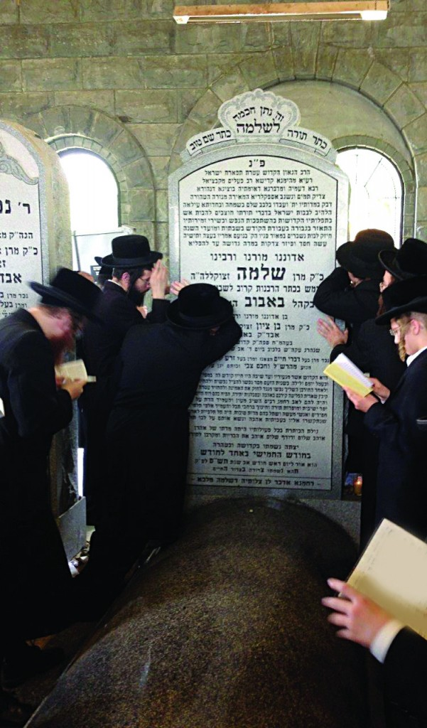 "Thousands of Yidden davened at the kever of the Bobover Rebbe, Harav Shlomo Halberstam, zt""l, in Deans, N.J., whose 13th yahrtzeit was marked on Monday. (JDN)"