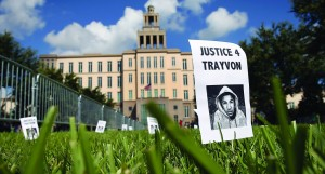 A sign showing support for Trayvon Martin is stuck in the lawn in front of the Seminole County Criminal Justice Center in Sanford, Florida. (Scott Olson/Getty Images)