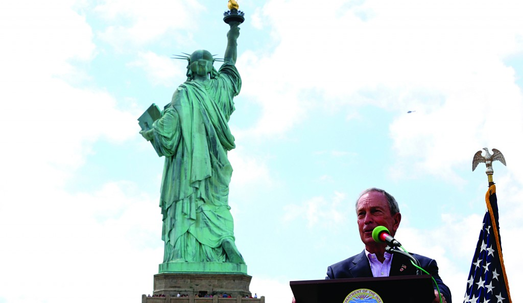 Mayor Michael Bloomberg speaks during the reopening of the Statue of Liberty, Thursday.