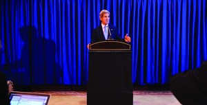 Secretary of State John Kerry speaks during a press conference at Queen Alia International Airport on Friday. (AP Photo/Mandel Ngan, Pool)