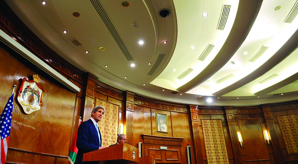 Secretary of State John Kerry (L) at a joint news conference with Jordan's Foreign Minister Nasser Judeh at the Ministry of Foreign Affairs in Amman on Wednesday. (REUTERS/Mandel Ngan/Pool)